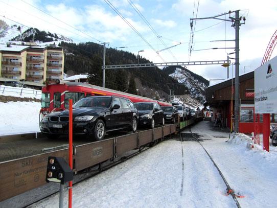 Car on train